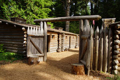 Stockade fence of Fort Clatsop. Re-construction at   Lewis and Clark National Historical Park, Oregon Royalty Free Stock Image