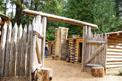 Stockade fence of Fort Clatsop Stock Images