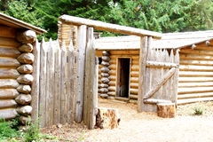 Stockade fence of Fort Clatsop. Re-construction at   Lewis and Clark National Historical Park, Oregon Stock Image