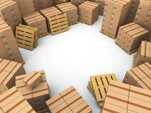 Stockage. Boîtes en carton sur la palette Images libres de droits
