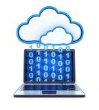 Stockage de binaire et de nuage d'ordinateur portable Photographie stock