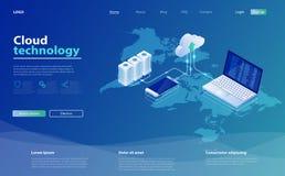 Stockage de nuage de concepts Technologie informatique en ligne serveurs 3d et r?seau de connexion de centre de traitement des do illustration de vecteur