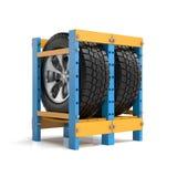 Stockage des roues d'automobile Images stock