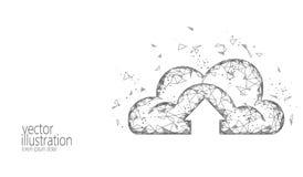 Stockage en ligne de calcul de nuage bas poly Future technologie moderne polygonale d'affaires d'Internet Monochrome gris blanc illustration libre de droits