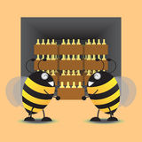 Stockage Honey Jar Into The Warehouse de deux abeilles Illustration de vecteur Photographie stock