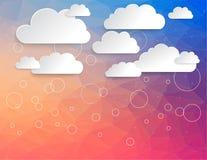 Stockage virtuel de nuage avec le modèle moderne de triangle illustration stock