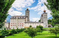 Stockalper Palace, Brig, Switzerland. The Stockalper Palace is a castle build between 1651 and 1671 in Brig-Glis, Switzerland stock photo
