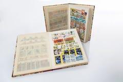 Stockbooks com coleções de selos postais Imagem de Stock Royalty Free