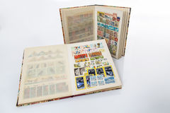 Stockbooks with postage stamps collections. A storage books used by collectors for storing postage stamps Royalty Free Stock Image