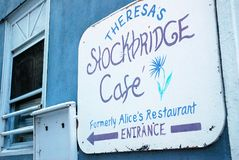 Stockbridge cafe entrance. The Stockbridge Cafe, formerly Alice`s Restaurant, Made Famous in a Song by Arlo Guthrie royalty free stock images
