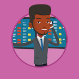 Stockbroker at stock exchange vector illustration. Royalty Free Stock Photo
