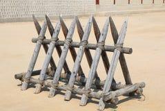 Stockcade. Korean Tradtional Wooden Stockcade for defense Royalty Free Stock Photo