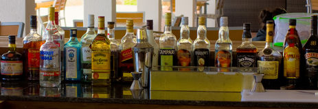 A stocked bar in the caribbean Stock Images