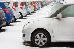 Stocked cars in rows Stock Photo