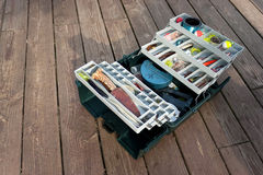 Stocked Fishing Tackle Box Royalty Free Stock Photos