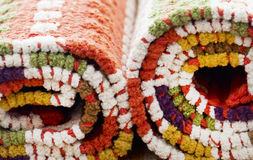 Stocked rolled carpets Stock Images