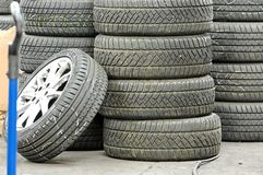Stocked tires Stock Photography
