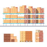 Stocked warehouse shelves and cardboard boxes Stock Photo