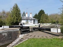 Stocker`s Lock and Lock Keeper`s Cottage, Grand Union Canal, Rickmansworth stock photos