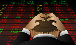 Stockexchange despair. Abstract  illustration of a stock broker looking at the stock exchange screen in despair Stock Photography