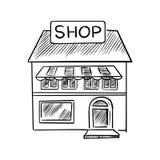 Stockez le croquis avec l'enseigne de boutique Image stock