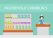 Stockez les produits domestiques, produits d'épuration, détergents, cosmétiques Le magasin avec le ménage nettoyant le style plat Photographie stock