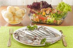 Stockfish capelin on a plate Royalty Free Stock Image