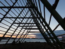 Stockfish rack at sunset, Lofoten Islands Royalty Free Stock Photography