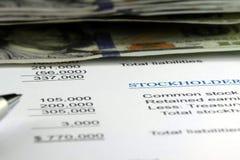 Stockholders Financial Balance Sheet Stock Photos