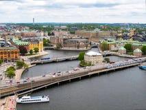 stockholm Швеция Чудесная воздушная панорама стоковое фото