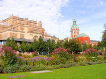 Stockholm. City garden behind the Opera House and Jakobs Church Royalty Free Stock Photo