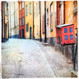 Stockholm, alte Straßen Stockbild