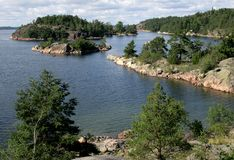 Stockholm archipelago. White clouds over the islands in Stockholm archipelago Stock Photo