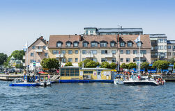 Stockholm archipelago: Boat petrol station Vaxholm. Boat petrol station with moored leisureboats in the archipelago town Vaxholm. Stockholm archipelago, Sweden royalty free stock photos