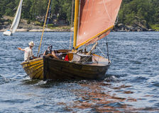 Stockholm archipelago: Classic wooden sailingboat Stock Photos