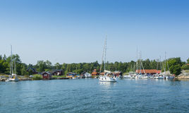 Stockholm archipelago: Idyllic guest harbour Kyrkviken Royalty Free Stock Photo
