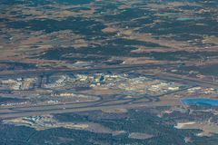 Stockholm Arlanda Airport, ARN, ESSA Sweden - aerial view. During sunny day royalty free stock image