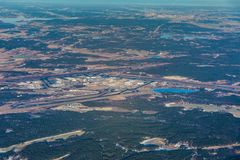 Stockholm Arlanda Airport, ARN, ESSA Sweden - aerial view. During sunny day stock photo