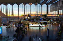 Stockholm Arlanda Airport, Sweden. Stockholm, Sweden – October 2, 2013: Sky city at Arlanda Airport during sunset. Sky city connects Stockholm stock photography