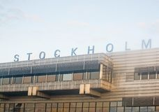 Stockholm Arlanda sign on arrival building. STOCKHOLM ARLANDA, SWEDEN - SEPTEMBER 6, 2018: Stockholm Arlanda sign on arrival building on a sunny day on September royalty free stock photography