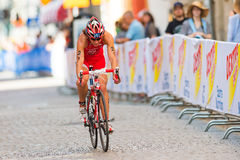 STOCKHOLM - AUG, 24: Agnieszka Jerzyk cycling on the crowded cob Royalty Free Stock Images