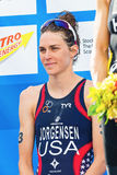 STOCKHOLM - AUG, 24: Gold medalist Gwen Jorgensen before the nat Stock Image