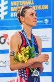 STOCKHOLM - AUG, 24: Gold medalist Gwen Jorgensen during the nat Royalty Free Stock Image