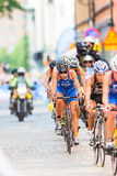 STOCKHOLM - AUG, 24: A group with Vanessa Raw cycling in the cro Stock Images