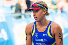 STOCKHOLM - AUG, 24: Lisa Norden (SWE) after the finish line in Royalty Free Stock Photo