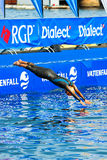 STOCKHOLM - AUG, 24: Natalie Milne diving into the water before Stock Photo
