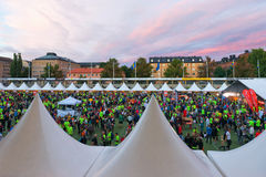STOCKHOLM - AUG, 17: People gathering before the Midnight Run (M Royalty Free Stock Images
