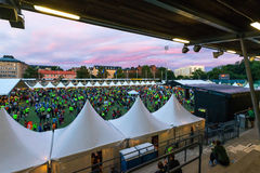STOCKHOLM - AUG, 17: People gathering before the Midnight Run (M Stock Photo