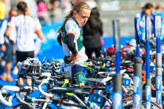 STOCKHOLM - AUG, 24: Preperations at start and finishing area wi Stock Images