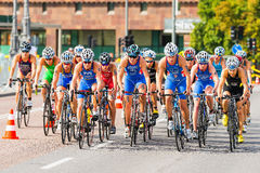 STOCKHOLM - AUG, 24: The second of the groups of woman cyclists Stock Image